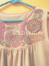 【SALE】メキシコ刺繍チュニックワンピース*ベージュ*