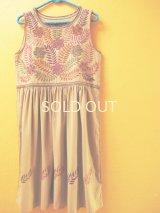 【SALE】メキシコ刺繍ワンピース*お花刺繍/ノースリーブ/ベージュ*