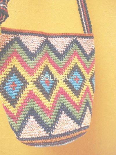 画像2:  グアテマラ手編みバッグ*トドスサントス/largeダイヤ柄*