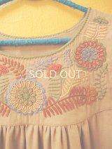 【SALE】メキシコ刺繍チュニックワンピース*アグアカテナンゴ/ベージュ/カラフル花刺繍*