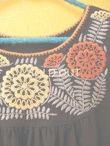 【SALE】メキシコ刺繍チュニックワンピース*アグアカテナンゴ/black/オレンジ×ベージュ刺繍*