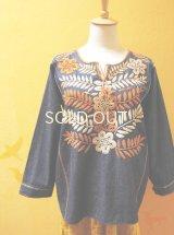 メキシコ刺繍ブラウス*アグアカテナンゴ/デニム地×orange*