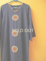 【SALE】メキシコ刺繍ストレートワンピース*コットンネイビー地×orange*