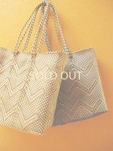 メキシコカゴバッグ*cream×gold or silver/medium/持ち手ロング*