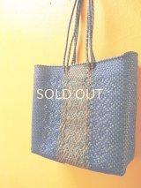 メキシコカゴバッグ*blue×green & gold/medium/持ち手ロング*