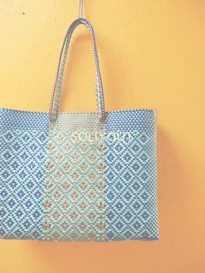 画像1: メキシコカゴバッグ*blue×turquoise/large/持ち手ロング*