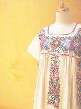 【訳あり値引き】小花刺繍のメキシカンワンピース*プエブラ/小鳥刺繍*