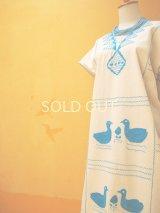 メキシコ刺繍ワンピース*鳥刺繍/水色/生成り地*