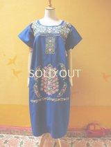 メキシカン刺繍ワンピース*blue/ピンク小花刺繍*