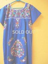 メキシカン刺繍ワンピース*blue/カラフル小花刺繍*