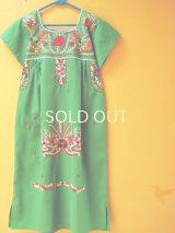 メキシカン刺繍ワンピース*グリーン*