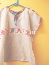 メキシコ手織り民族ウィピルブラウス*Magdalenas aldama/gris color*
