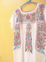 小花刺繍のメキシカンワンピース*白地/お花刺繍B*