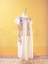 小花刺繍のメキシカンワンピース*白地/お花刺繍A*