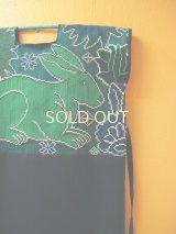 クロス刺繍ウィピルワンピース*ウサギ模様/グリーン*