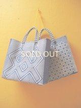 メキシコカゴバッグ*Blue×White/大きい幾何学模様、小花模様/Lサイズ*
