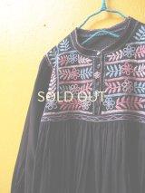 メキシコ刺繍チュニックワンピ*スタンドカラー前開き/ネイビー地×ロココ刺繍*