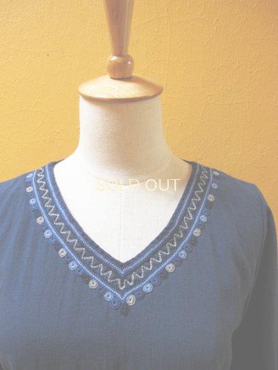画像1: メキシコ刺繍ストレートワンピース*チャムラ玉刺繍/ブルー系*