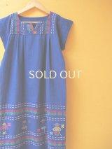 グアテマラ織り地ワンピース*お人形模様/ブルー*