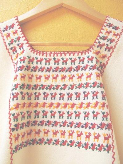 画像3: メキシコ刺繍ブラウス*チナンテコ/小さい動物刺繍*