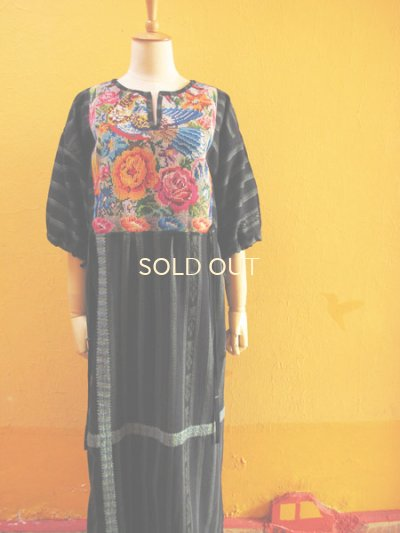 画像4: グアテマラ民族衣装リメイクロングワンピース*お花&鳥模様*