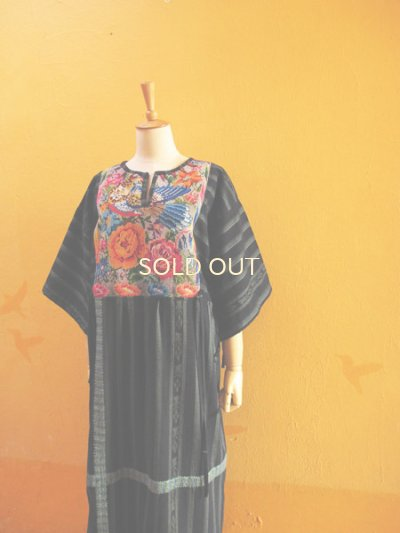 画像5: グアテマラ民族衣装リメイクロングワンピース*お花&鳥模様*