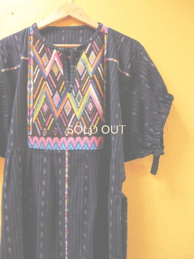 画像3: グアテマラ民族衣装リメイクロングワンピース*幾何学模様*