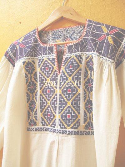 画像2: メキシコ刺繍チュニックブラウス*クロス刺繍/サポテコ/パープル&ブルー*