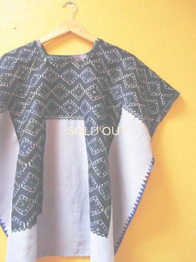 画像2: メキシコ刺繍ウィピル*シナカンタン/幾何学模様*