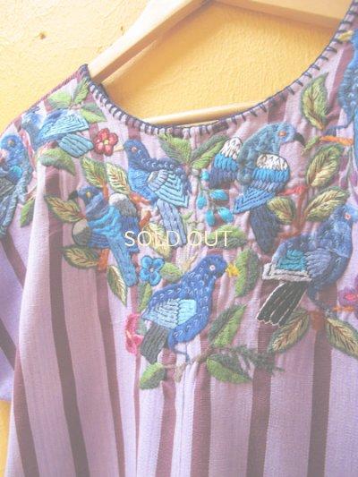 画像1: グアテマラ豪華鳥刺繍ウィピルブラウス*サンティアゴ/青い鳥刺繍*
