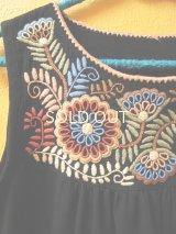 メキシコ刺繍チュニックワンピース*ブラック*