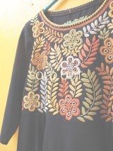 メキシコ刺繍ワンピース*ネイビー/マルチカラー/アグアカテナンゴ*