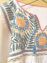 メキシコ刺繍チュニック*生成り/コットン地/ブルー×イエロー花*