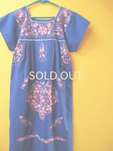 メキシコ定番刺繍ワンピース*ブルー/小鳥花刺繍*