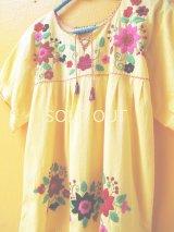 メキシコ刺繍チュニック*花刺繍/レモンイエロー*