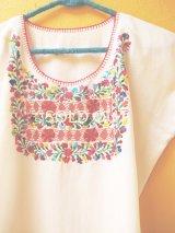 メキシコ刺繍ブラウス*オアハカ/サン・アントニーノ/ホワイト*