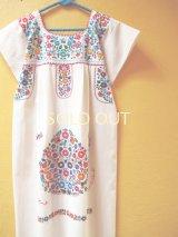 メキシコ定番刺繍ワンピース*コットン地/小花刺繍*