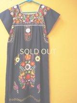 メキシコ定番刺繍ワンピース*ネイビー/お花刺繍*
