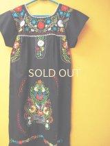 メキシコ定番刺繍ワンピース*ブラック/お花刺繍*
