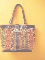【SALE】グアテマラ手織り地使用レザーバッグ/翡翠付き