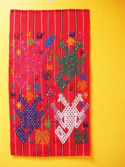 画像2: グアテマラ手織りタペストリー*チチカステナンゴ/red/2点*