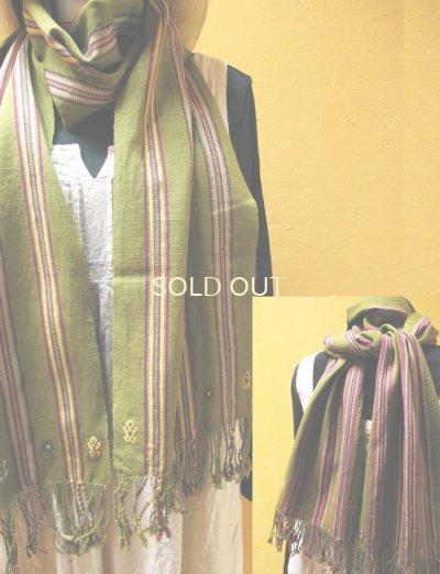 画像2: メキシコ手織りコットンストール*パンテロー/スプリンググリーン2カラー*