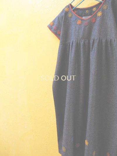 画像4: カラフルロココ刺繍チュニックワンピース*デニム地/少し落ち着いたカラー*