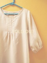 【SALE】60%offリネン地のステッチ刺繍ワンピース*beige*