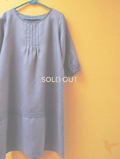 画像1: 【SALE】60%offリネン地のステッチ刺繍ワンピース*steelblue*