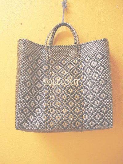 画像1: メキシコカゴバッグ*black×gold & silver/medium*