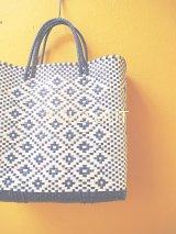 メキシコカゴバッグ*blue×white/medium*