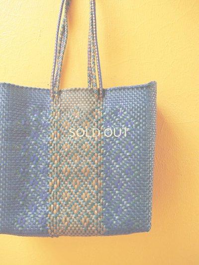 画像2: メキシコカゴバッグ*blue×green & gold/medium/持ち手ロング*