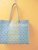 メキシコカゴバッグ*blue×turquoise/large/持ち手ロング*