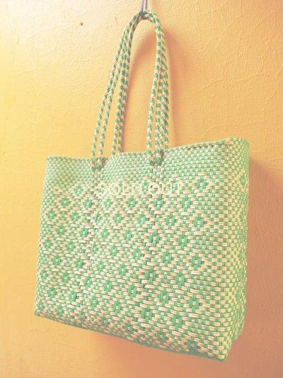 画像2: メキシコカゴバッグ*cream×yellowish green /medium/持ち手ロング*